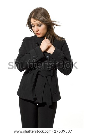woman with black coat - stock photo