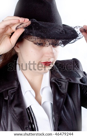 woman with black coat and hat - stock photo