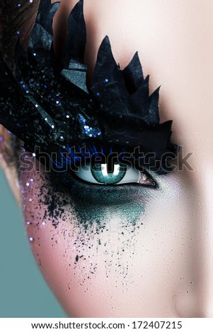 woman with black paper zigzag make-up - stock photo