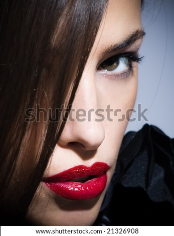woman with black rose - stock photo