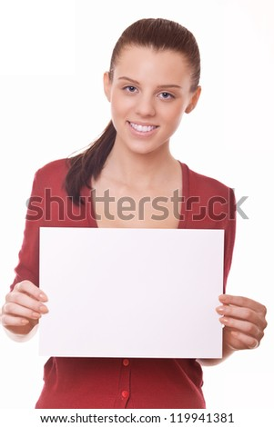 woman with blank board or paper for you advert - stock photo