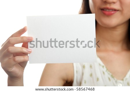 Woman with blank card sign isolated on white background - stock photo