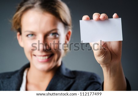 Woman with blank message - stock photo