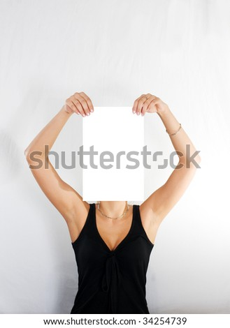 woman with blank paper instead of head