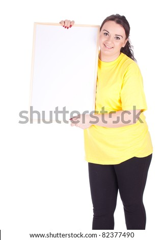 woman with blank sign, billboard - stock photo