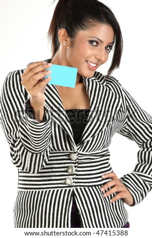 woman with blue credit card - stock photo