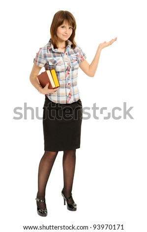 woman with  book  presenting something imaginary over white - stock photo