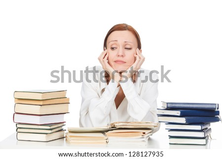 Woman with books against white background - stock photo