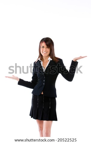 woman with both palms open - stock photo