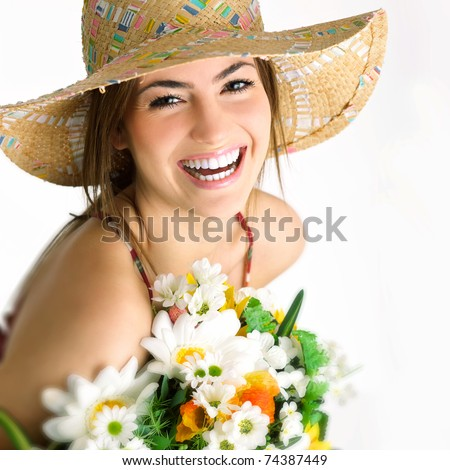 woman with bouquet - stock photo