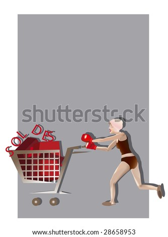 woman with boxing gloves and a caddy - stock photo