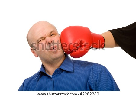 woman with boxing gloves and man on a white background