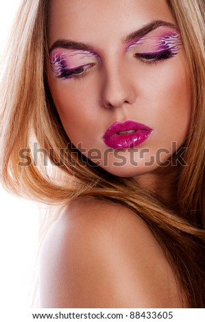 woman with bright creative make up