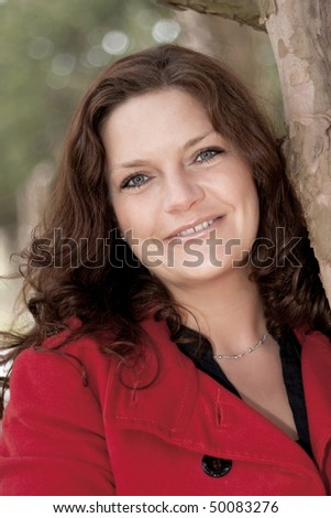 woman with brown hair - stock photo