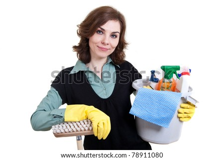 Woman with bucket full of cleaning powder and mop - stock photo