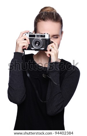 woman with camera - stock photo