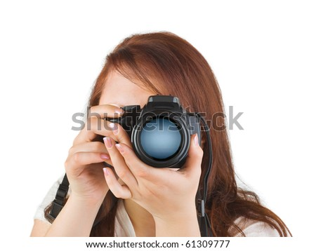 Woman with camera isolated on white background - stock photo