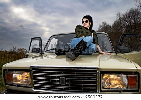woman with car