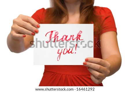 Woman with card Thank You isolated on white background - stock photo