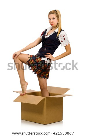 Woman with cardboard box isolated on white - stock photo