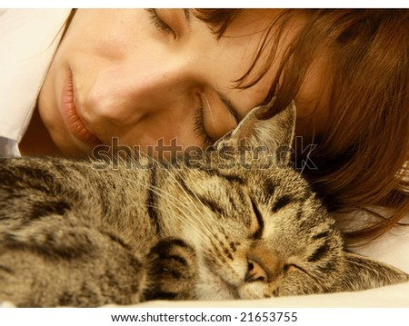Woman with cat - stock photo