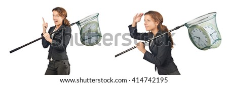 Woman with catching net and clock - stock photo