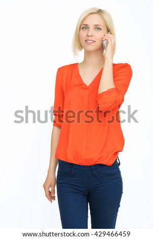 Woman with cellphone - stock photo