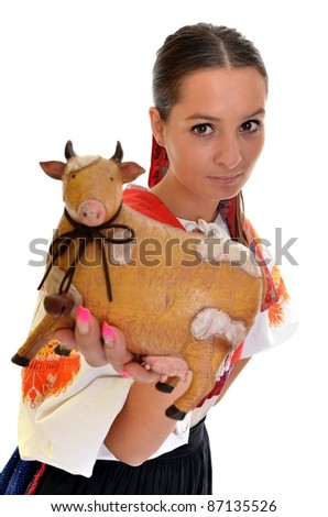 woman with ceramic cow