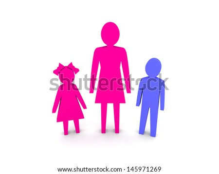 Woman with children. Single-parent family. Concept 3D illustration. - stock photo