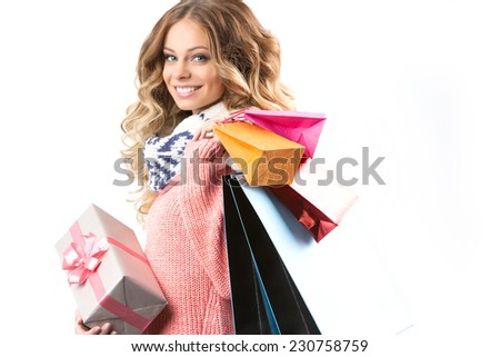 Woman with Christmas shopping - stock photo