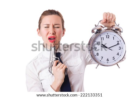 Woman with clock killing the time - stock photo