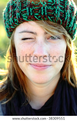 woman with closed eye - stock photo
