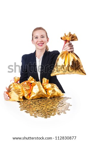 Woman with coins and golden sacks