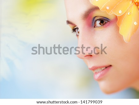 Woman with colorful make-up  - stock photo
