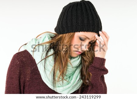 Woman with common cold and headaches / sick woman - stock photo