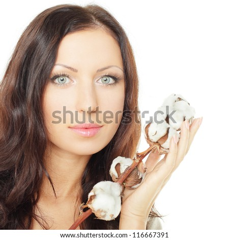 Woman with cotton on white background - stock photo
