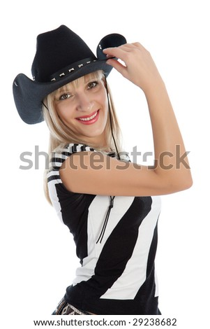 Woman with cowboy hat isolated on white