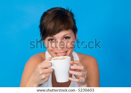 woman with cup of coffee - stock photo
