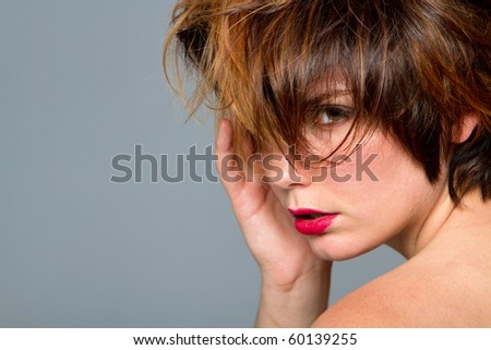 Woman with cute short hair - stock photo