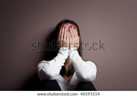 Woman with depression - stock photo