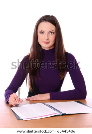 woman with documents. Isolated at white background - stock photo