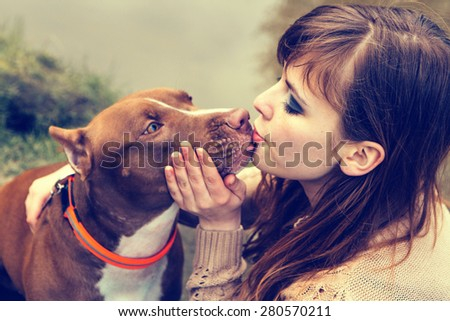 Woman with dog nature  - stock photo