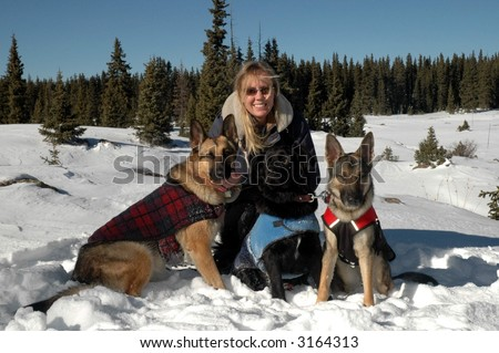 Woman with Dogs