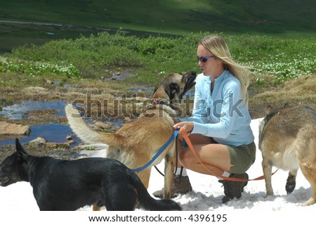 Woman with dogs - stock photo