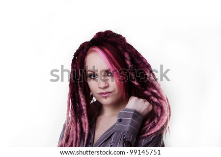 woman with dread lock hair wearing a mans shirt looking very sexy