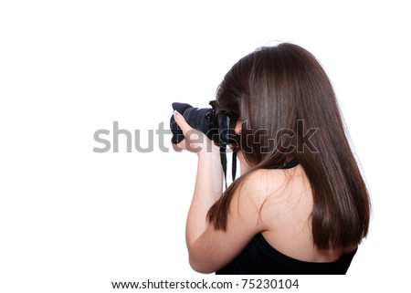 Woman With DSLR Camera over white background