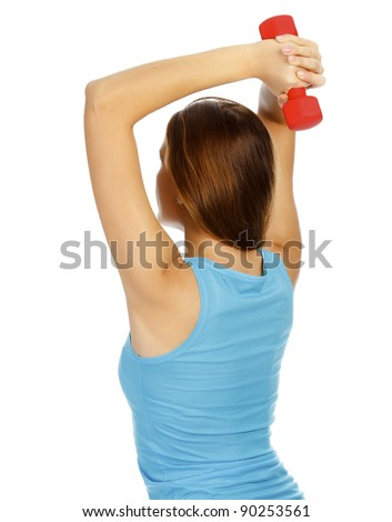 woman with dumb-bells in hands