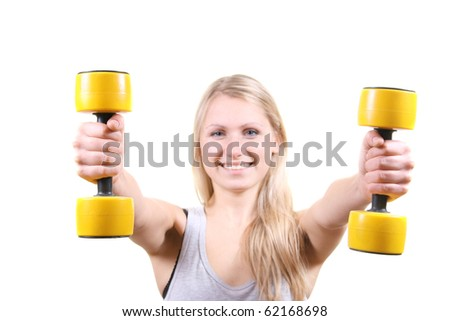 woman with dumbbells in her hands