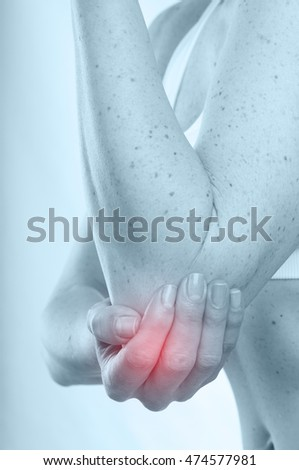 Woman with elbow pain, toned in blue