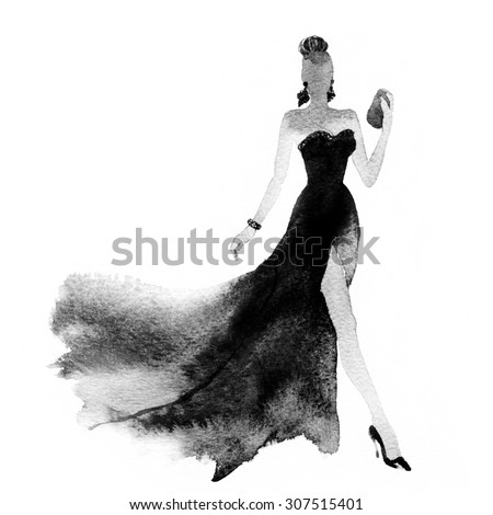 woman with elegant dress .abstract watercolor .fashion background - stock photo